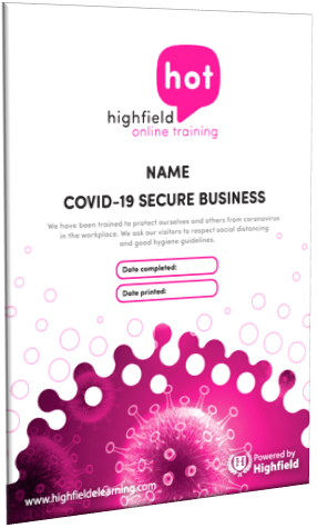 COVID-19 Secure Business Certificate
